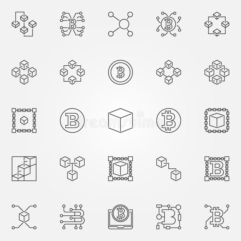 Uppsättning för Blockchain teknologisymboler Vektor 25 tecken för kvarterkedja vektor illustrationer