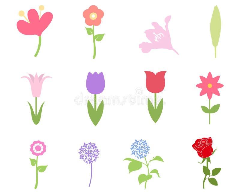 Uppsättning för blommafärgsymbol stock illustrationer