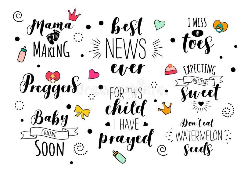 Uppsättning för bokstäver för citationstecken för havandeskapmammamoder gravid vektor illustrationer