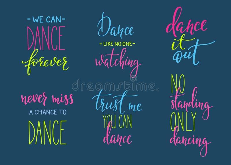Uppsättning för bokstäver för dansstudiocitationstecken stock illustrationer