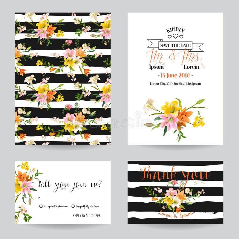 Uppsättning för bröllopinbjudan- eller lyckönskankort royaltyfri illustrationer