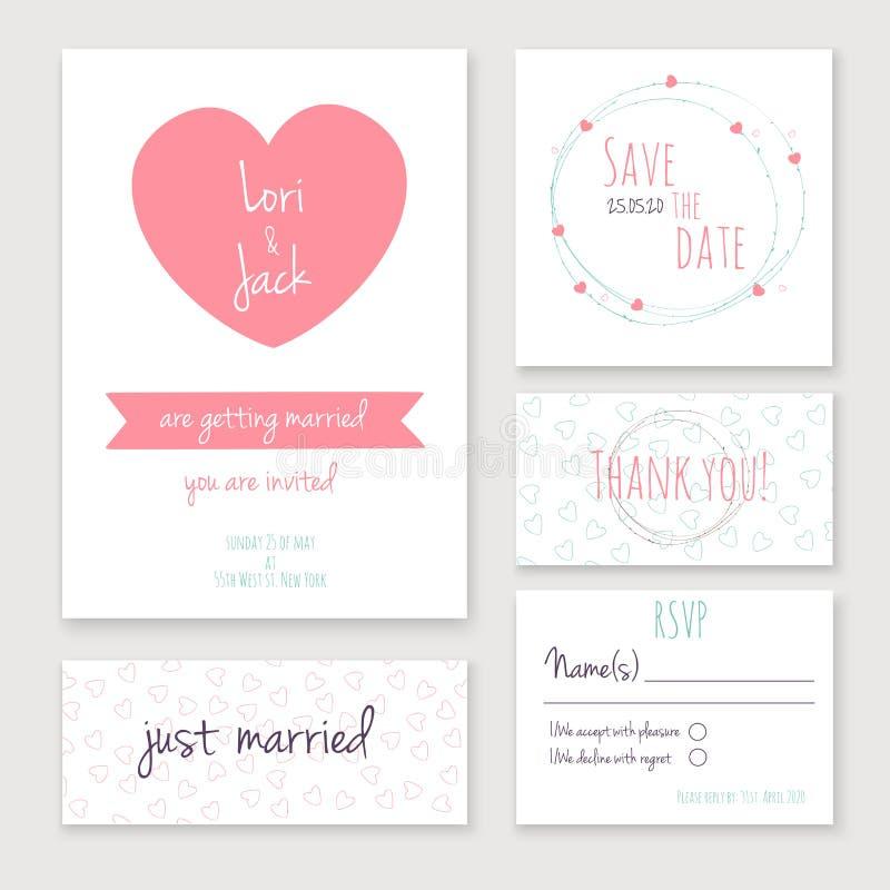 Uppsättning för bröllopinbjudankort stock illustrationer