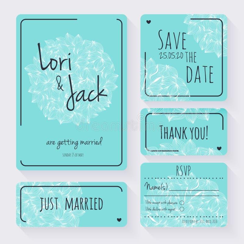 Uppsättning för bröllopinbjudankort Tacka dig att card, spara datumkorten, RSVP-kort vektor illustrationer