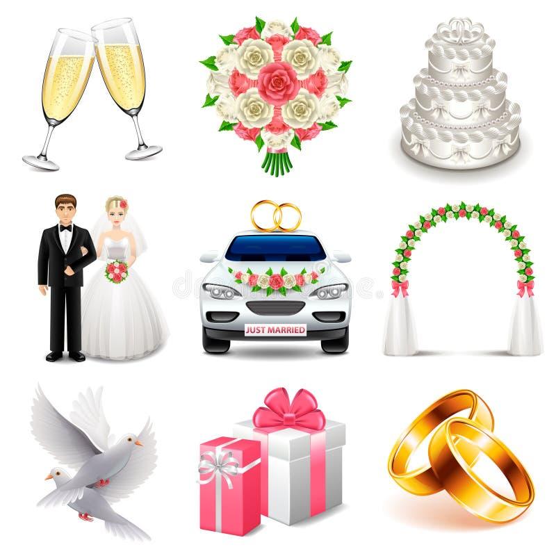 Uppsättning för bröllopsymbolsvektor stock illustrationer