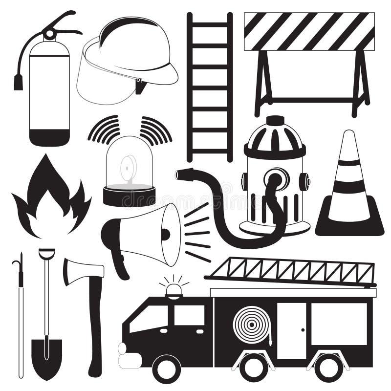 Uppsättning för brandbekämpninghjälpmedelsymboler vektor illustrationer