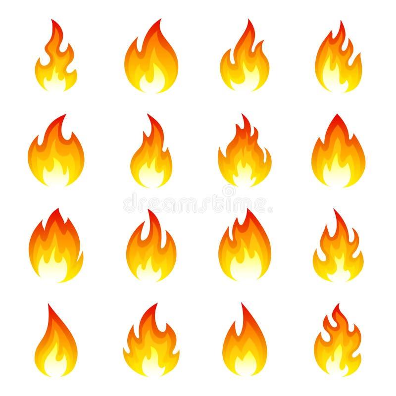 Uppsättning för brandflammasymbol vektor illustrationer