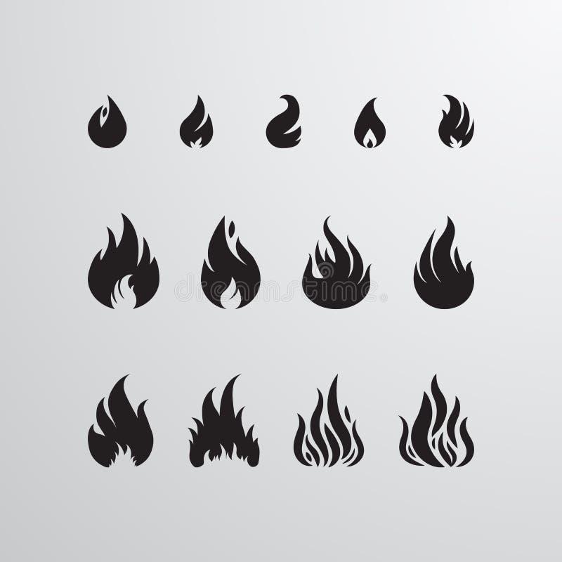 Uppsättning för brandsymbolsvektor stock illustrationer