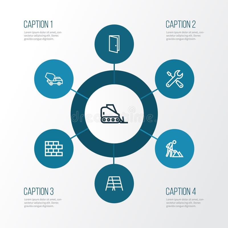 Uppsättning för branschöversiktssymboler Samling av trappstege, dörr, bulldozer och andra beståndsdelar Inkluderar också symboler stock illustrationer