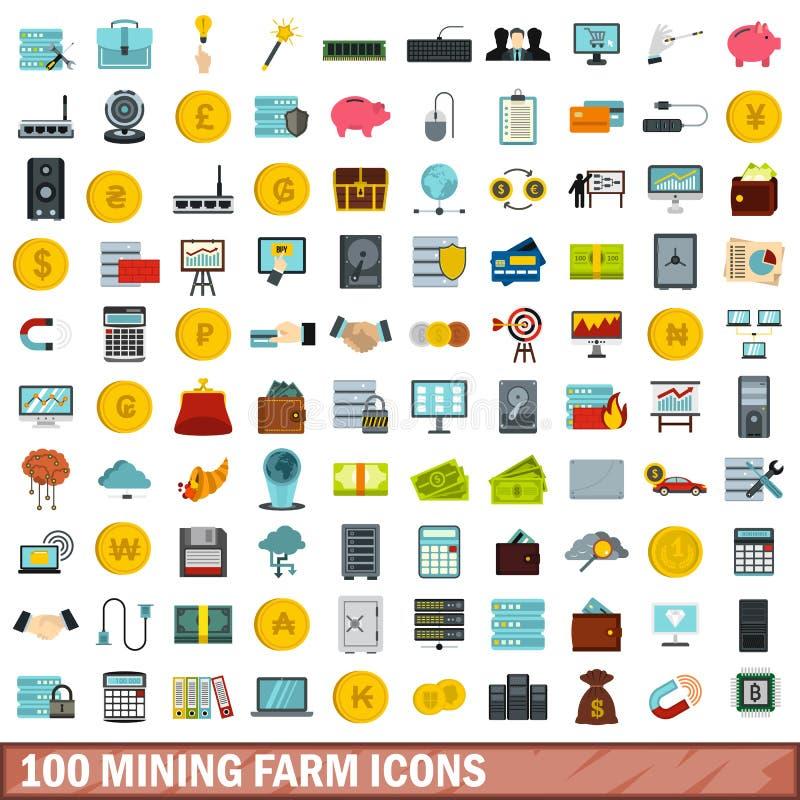 uppsättning för 100 bryta lantgårdsymboler, lägenhetstil vektor illustrationer