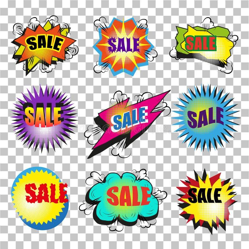 Uppsättning för bubbla för anförande för försäljning för konst för vektortappningpop royaltyfri illustrationer