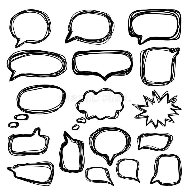 Uppsättning för bubblaanförandeklotter Hand dragen klotterstil vektor stock illustrationer