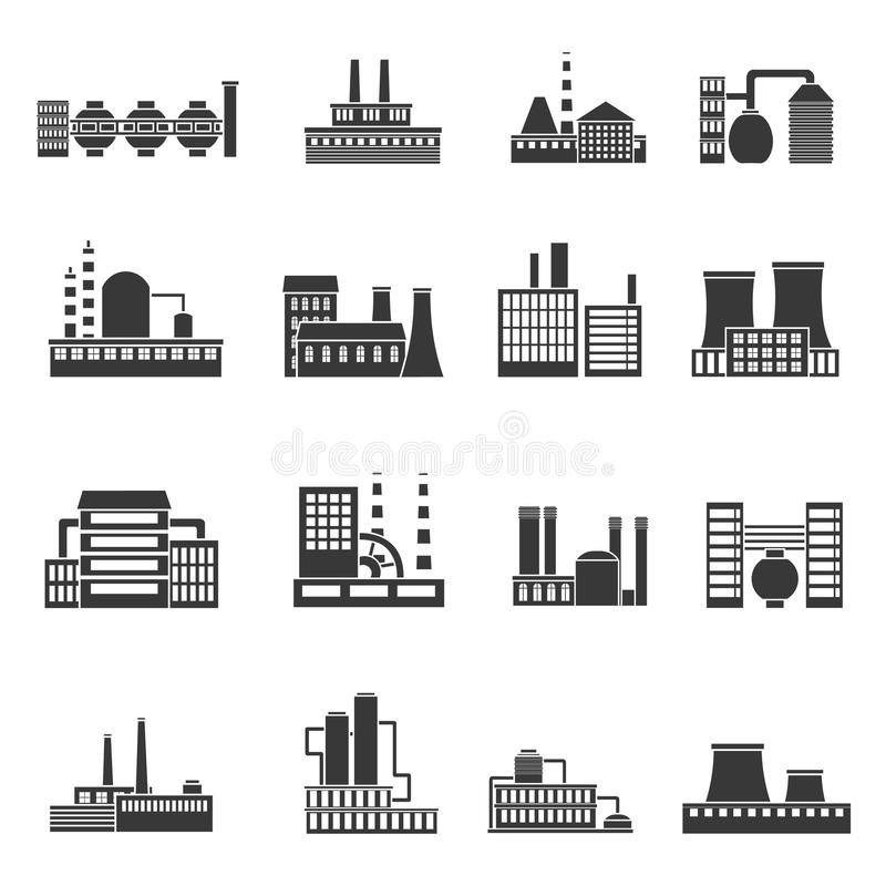 Uppsättning för byggnader för manufactory för bransch för fabriksmaktelektricitet av vektorsymboler vektor illustrationer