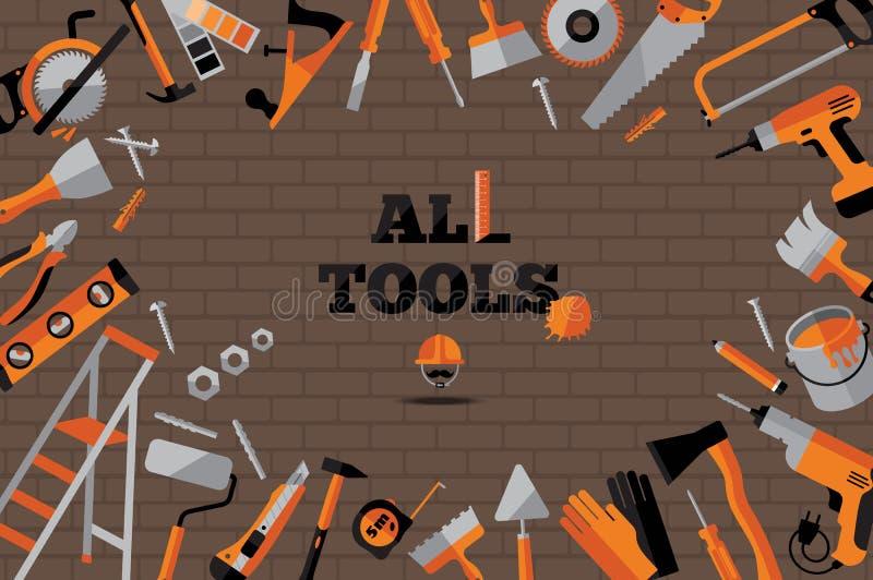 Uppsättning för byggnadshjälpmedelsymboler stock illustrationer
