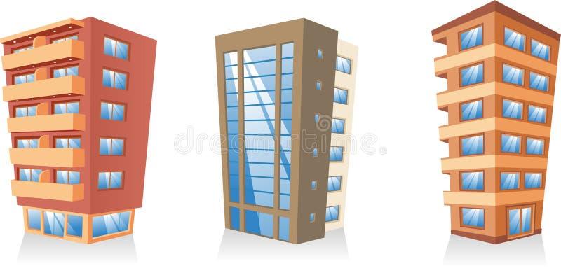Uppsättning 3 för byggnadslägenhethus royaltyfri illustrationer