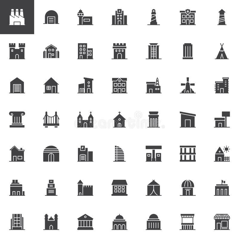 Uppsättning för byggnadsvektorsymboler vektor illustrationer