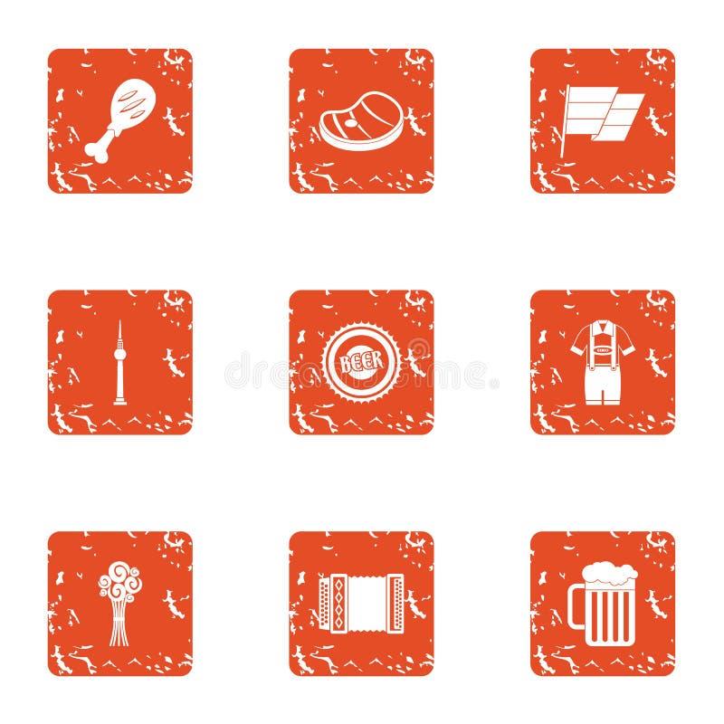 Uppsättning för byutopisymboler, grungestil royaltyfri illustrationer