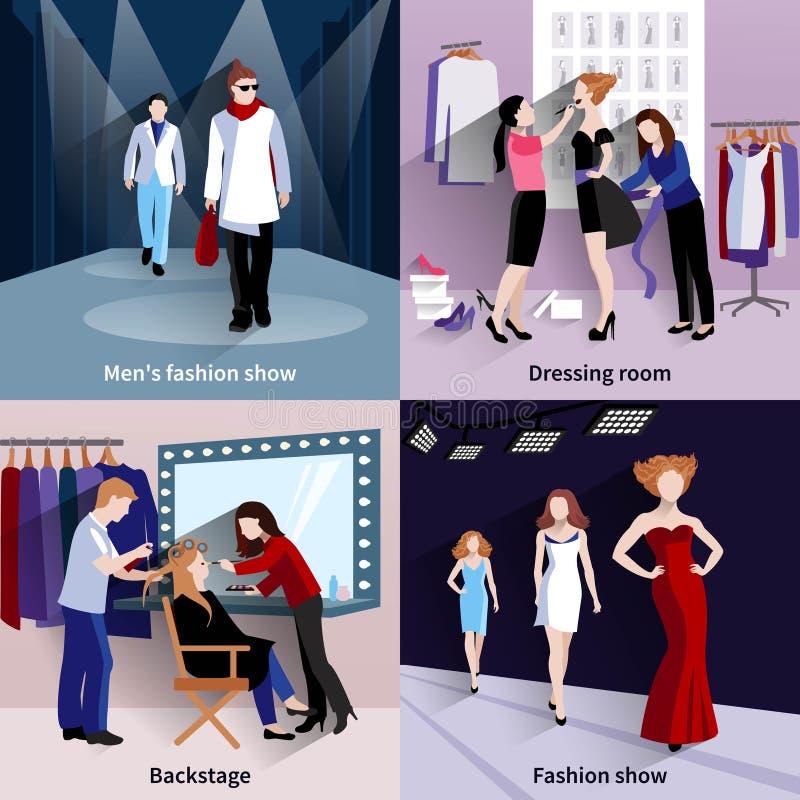 Uppsättning för catwalk för modemodell stock illustrationer