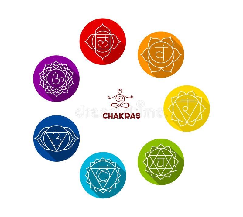 Uppsättning för Chakra färglägenhet stock illustrationer