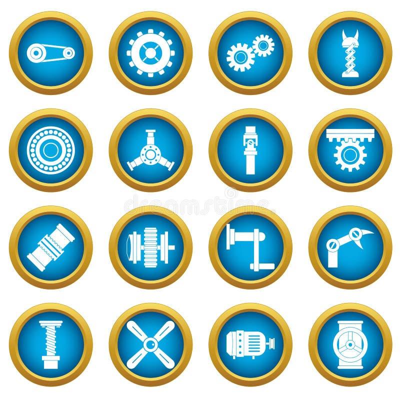 Uppsättning för cirkel för blått för symboler för Techno mekanismsats vektor illustrationer
