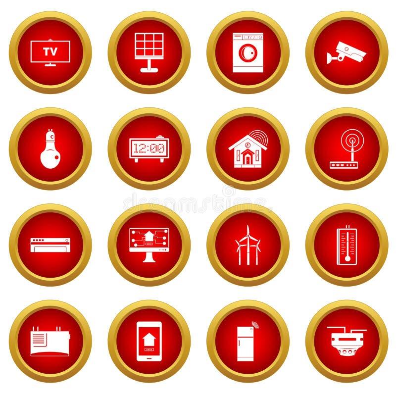 Uppsättning för cirkel för symbol för Smart hemhus röd stock illustrationer