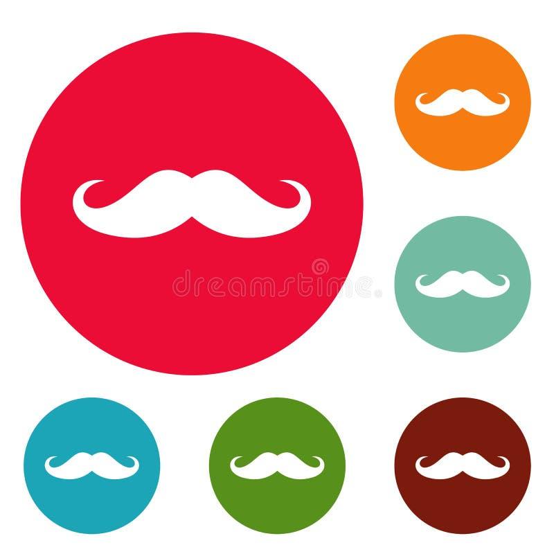 Uppsättning för cirkel för Italien mustaschsymboler stock illustrationer