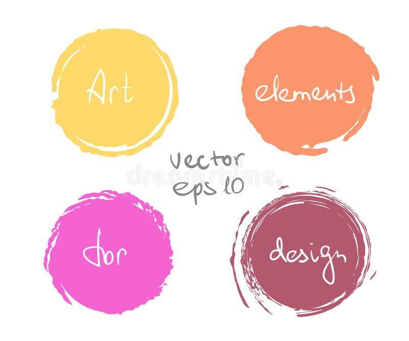 Uppsättning för cirkelmålarfärgdroppe stock illustrationer