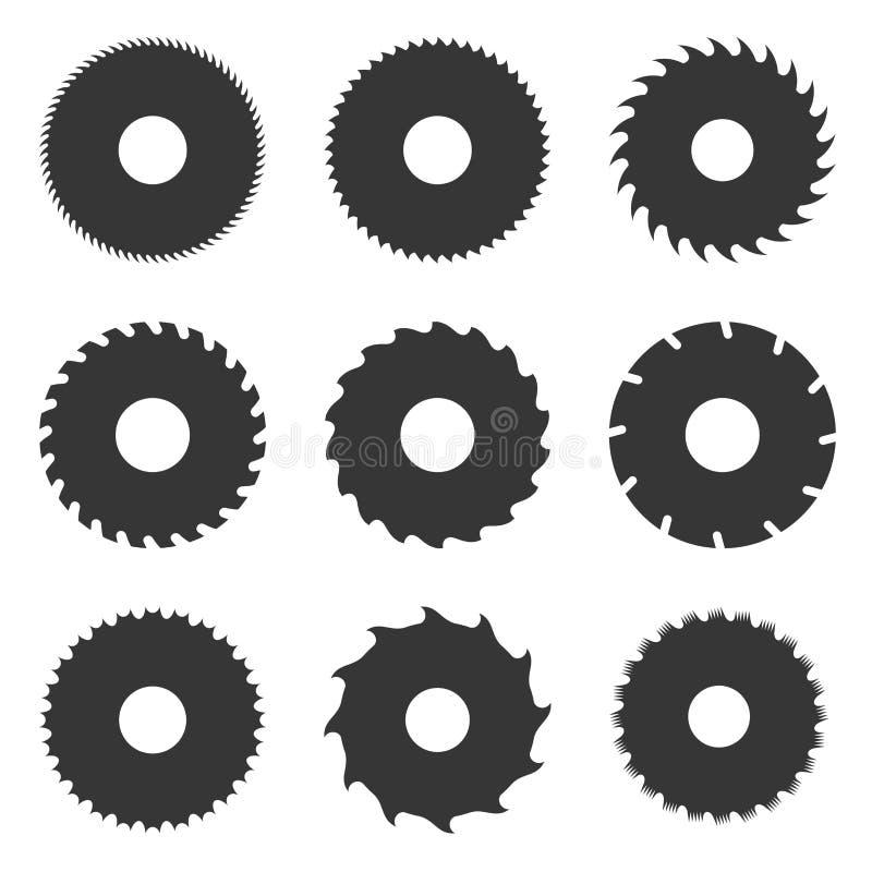 Uppsättning för cirkelsågblad vektor vektor illustrationer