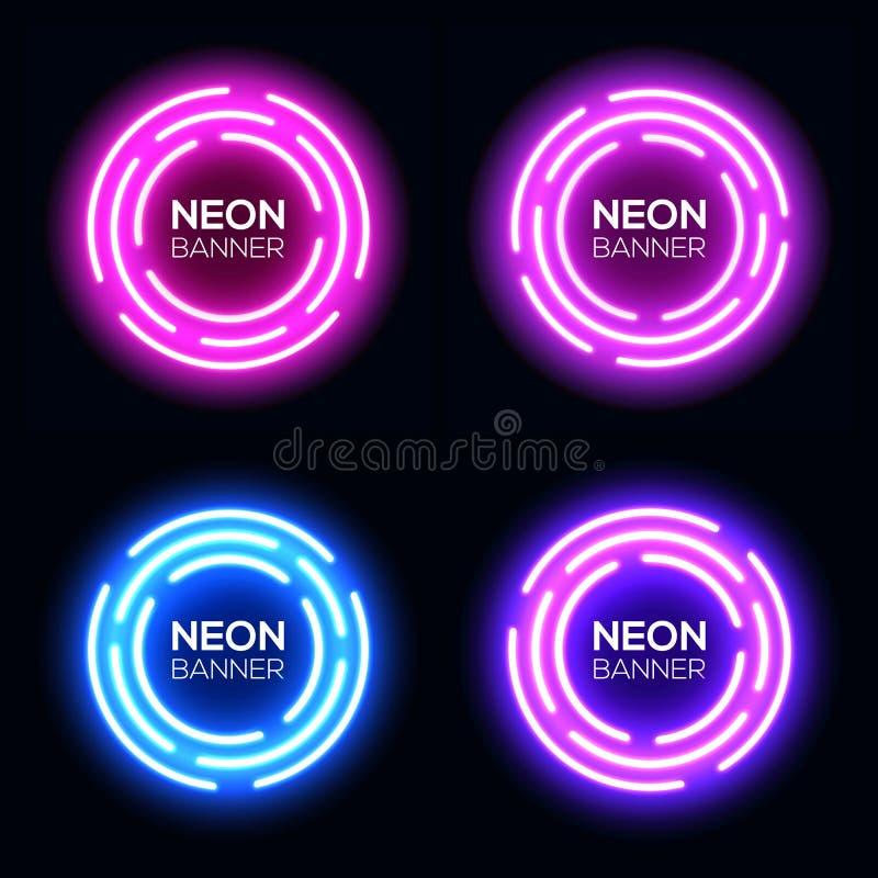 Uppsättning för cirklar för neonljus Techno inramar samlingen stock illustrationer