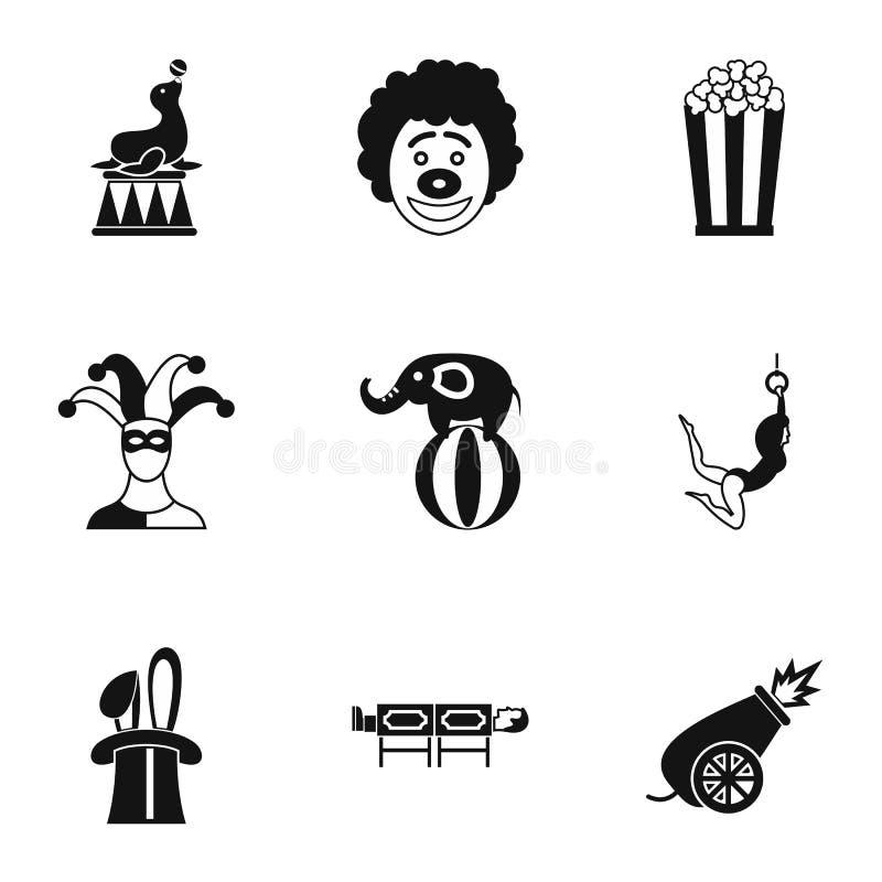 Uppsättning för cirkuskapacitetssymboler, enkel stil vektor illustrationer