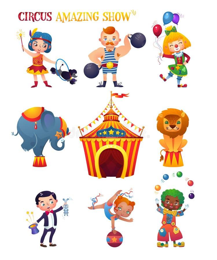 Uppsättning för cirkustecknad filmtecken Clowness strongman, instruktör, elefant, lejon, trollkarl, akrobat, clown Cirkustält stock illustrationer