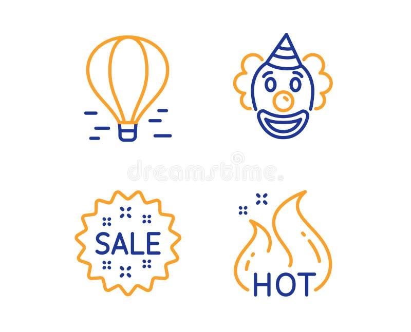 Uppsättning för clown-, Sale och luftballongsymboler Den hoade Salen undertecknar Rolig kapacitet som shoppar stjärnan, flyglopp  royaltyfri illustrationer