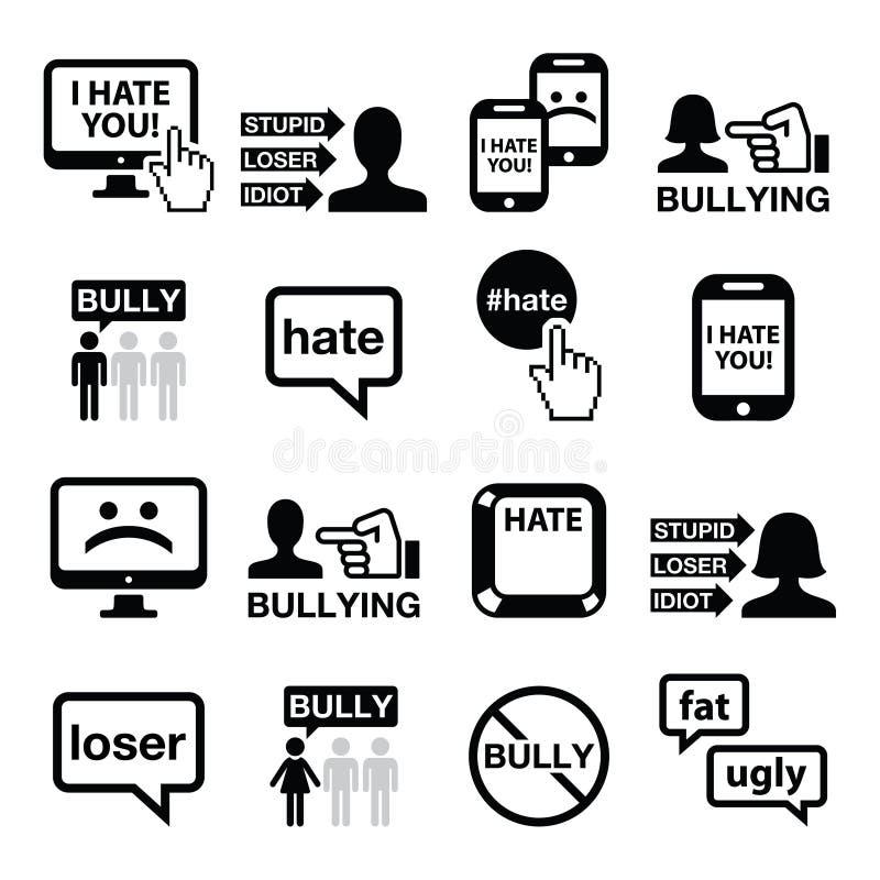 Uppsättning för Cyberbullying vektorsymboler royaltyfri illustrationer