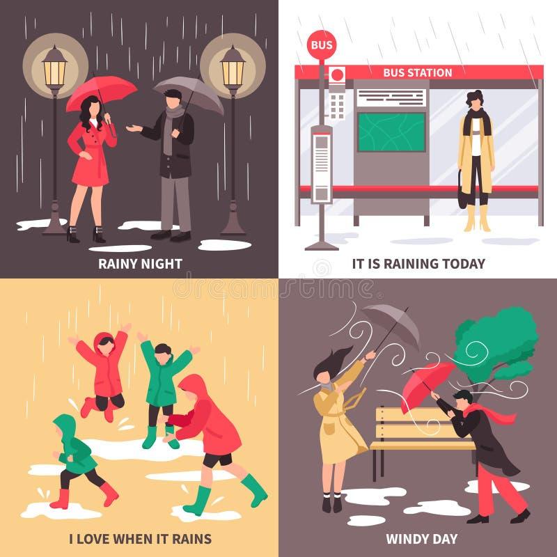 Uppsättning för dåligt väderbegreppssymboler royaltyfri illustrationer