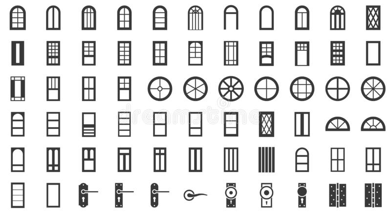 Uppsättning för dörr- och fönsterinstallationssymbol, fast stil royaltyfri illustrationer