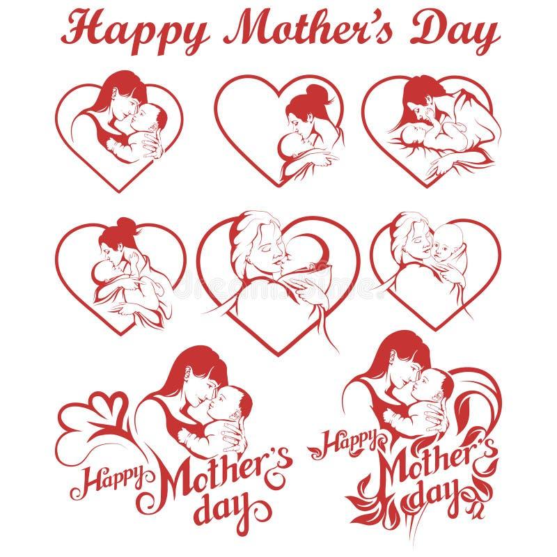 Uppsättning för dag för moder` s Lycklig bokstäver för dag för moder` s vektor illustrationer
