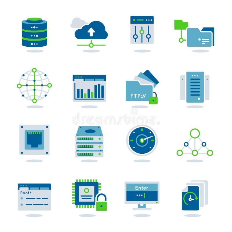 Uppsättning för Datacenter lägenhetsymbol stock illustrationer