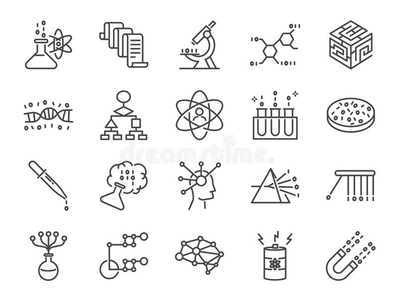 Uppsättning för datavetenskapssymbol Inklusive symbolerna som användarealgoritm, stora data, tillvägagångssätt, vetenskap, prov,  royaltyfri illustrationer