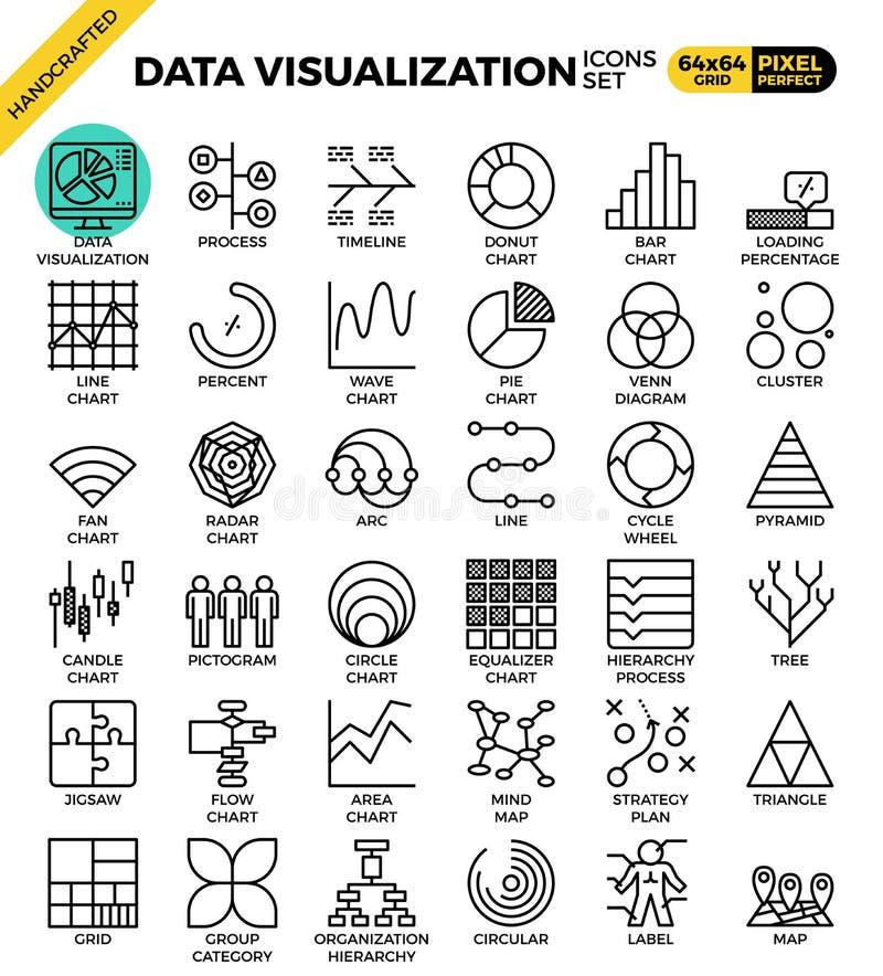 Uppsättning för datavisualizationsymbol royaltyfri illustrationer