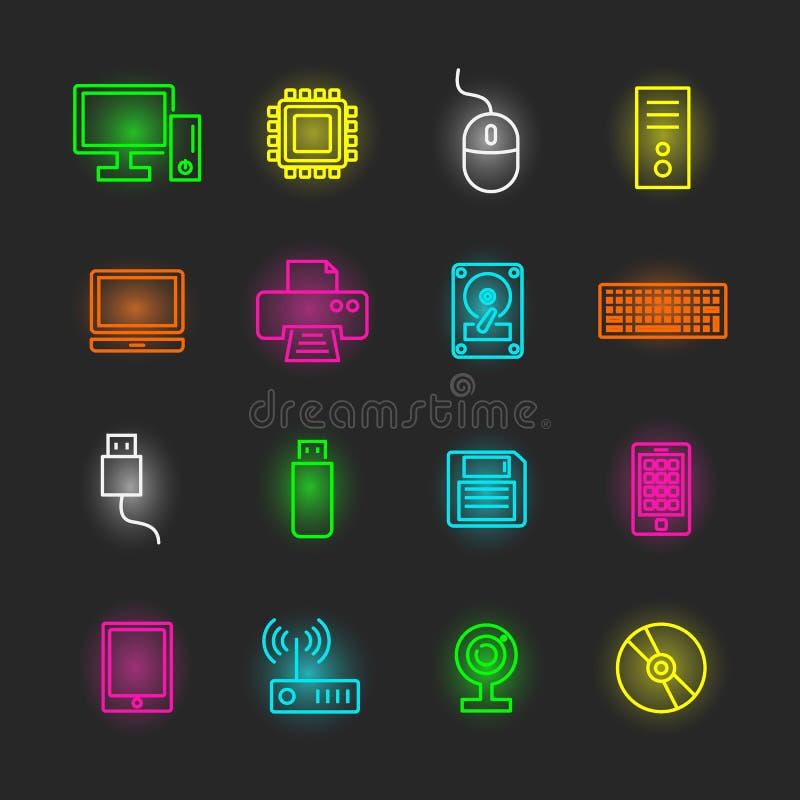 Uppsättning för dator- och apparatneonsymbol stock illustrationer