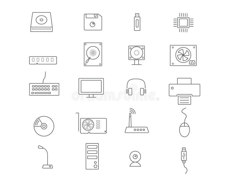 Uppsättning för datorapparatsymbol vektor illustrationer
