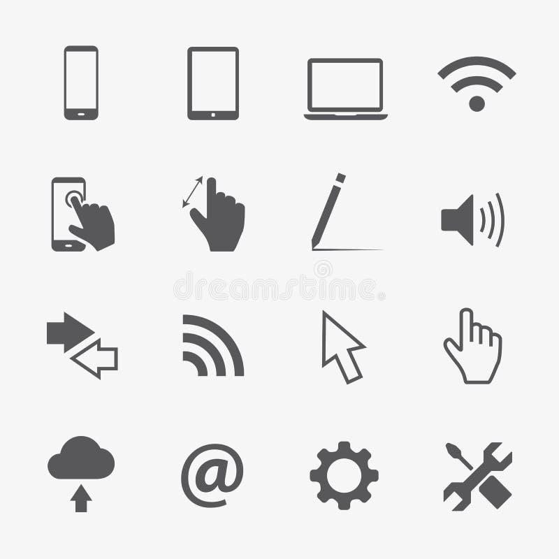 Uppsättning för datorvektorsymboler royaltyfri illustrationer