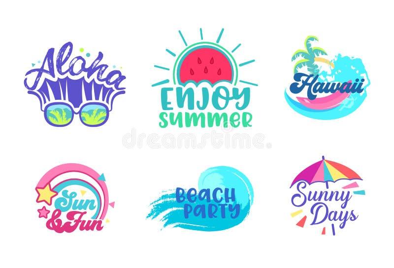Uppsättning för design för affisch för sommarstrandferie tropisk Mall för baner för typografi för Paradise Hawaii semesterparti M stock illustrationer