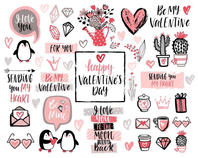 Uppsättning för design för bokstäver för dag för valentin` s med hand drog beståndsdelar stock illustrationer