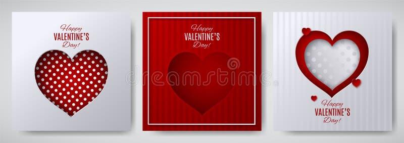 Uppsättning för design för dag för valentin` s Hälsningkort, affisch, banersamling Cutted skyler över brister hjärta på vitt/rött vektor illustrationer