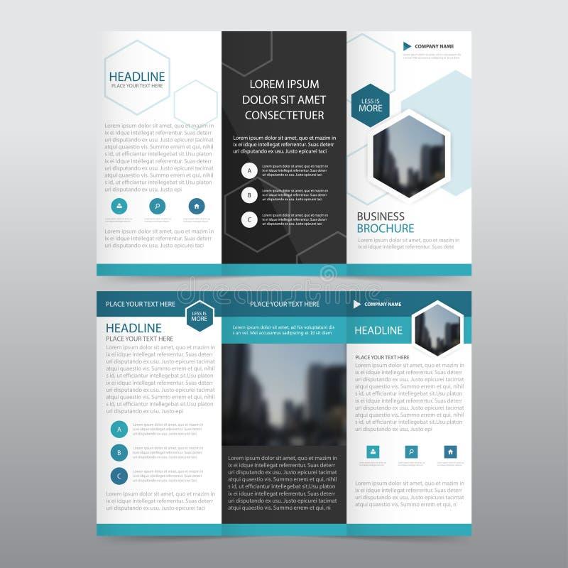 Uppsättning för design för blå för sexhörningsaffär trifold för broschyr för broschyr för reklamblad för rapport vektor för mall  vektor illustrationer