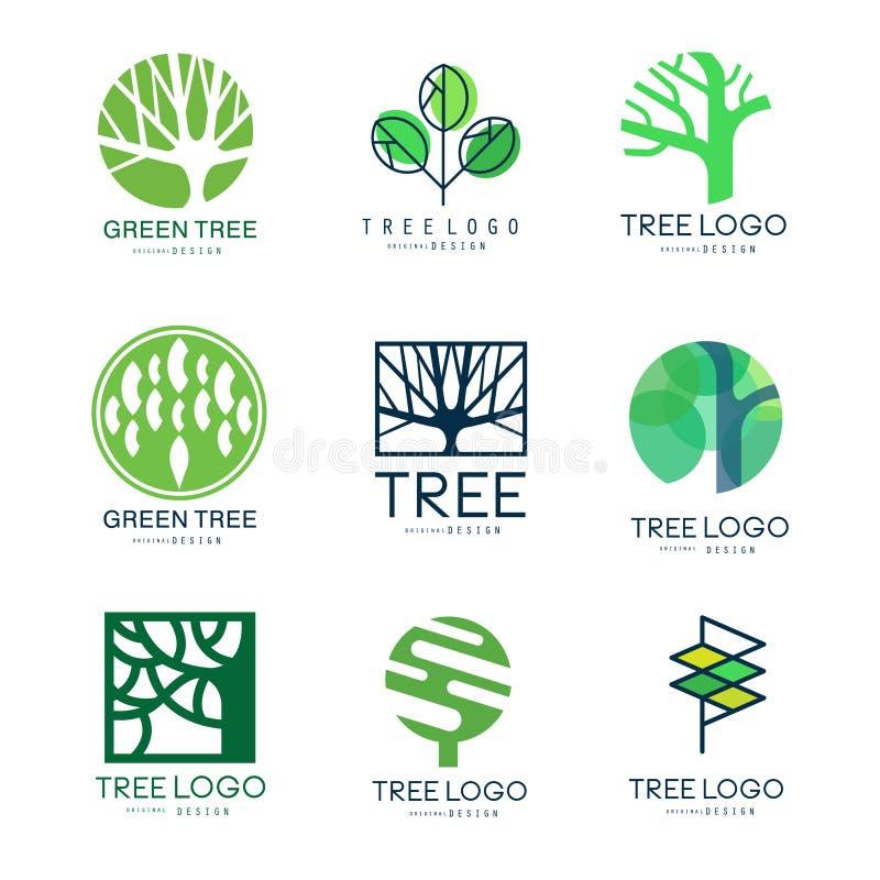 Uppsättning för design för grön trädlogo original- av vektorillustrationer i gröna färger vektor illustrationer