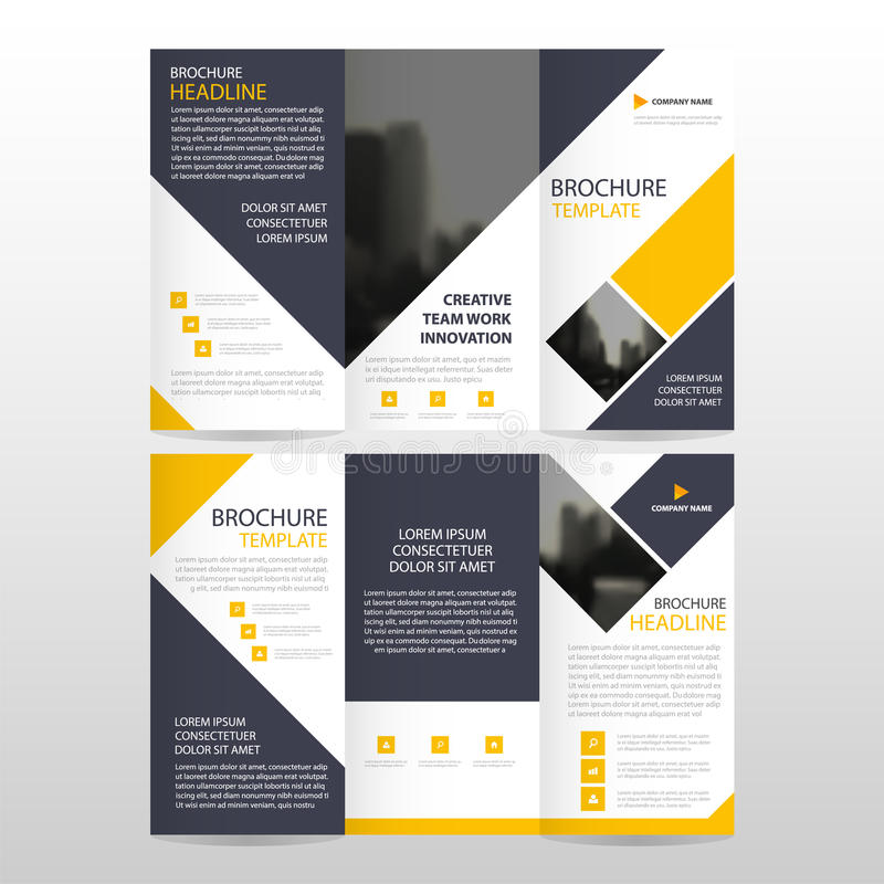 Uppsättning för design för gul fyrkantig för broschyrbroschyr för affär trifold för reklamblad för rapport vektor för mall minsta vektor illustrationer