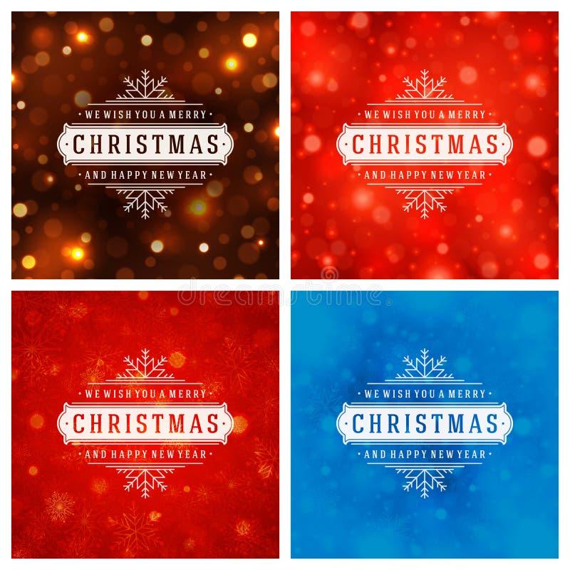 Download Uppsättning För Design För Kort För Jultypografihälsning Vektor Illustrationer - Illustration av present, krusidull: 78726991