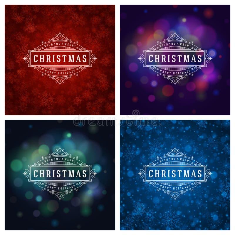 Download Uppsättning För Design För Kort För Jultypografihälsning Vektor Illustrationer - Illustration av nytt, emblem: 78727507