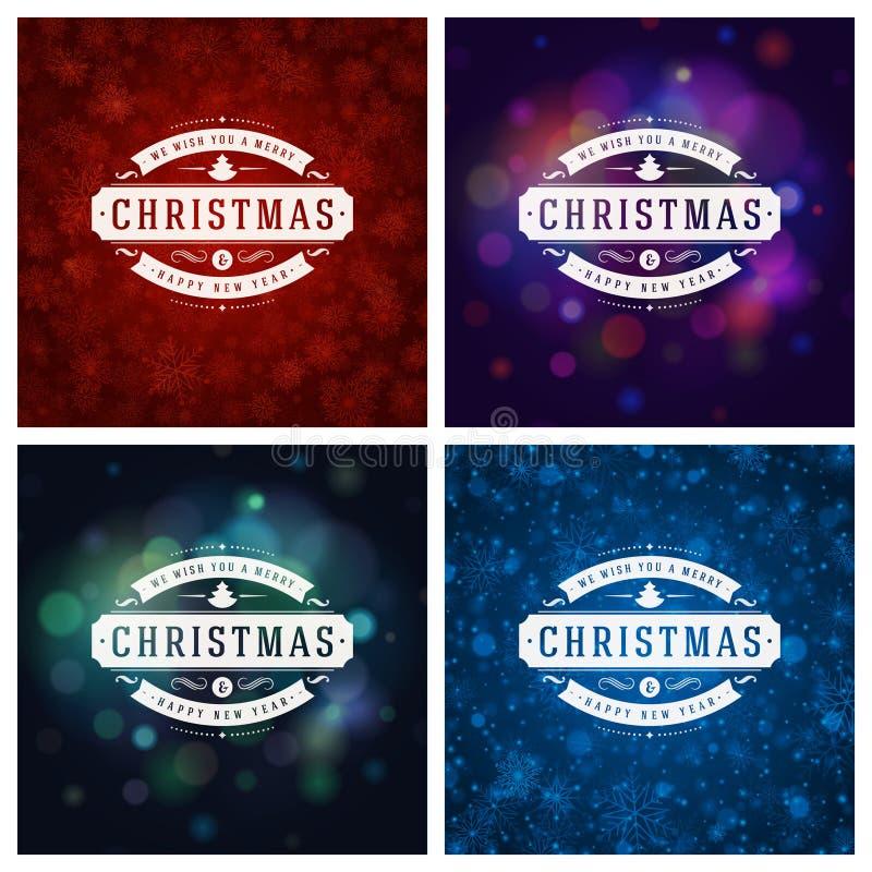 Download Uppsättning För Design För Kort För Jultypografihälsning Vektor Illustrationer - Illustration av vykort, inbjudan: 78727509